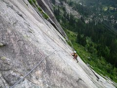 Rock Climbing Photo: Neverending slabs in sector Oelberg of the Handegg...