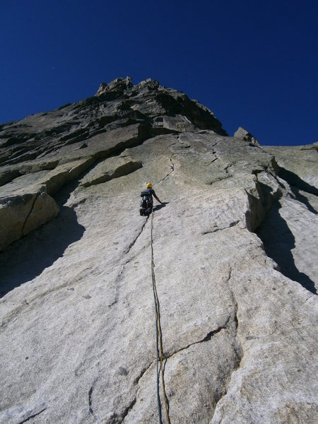 The fantastic hand crack on pitch one of Schwoabaweg