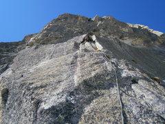 Rock Climbing Photo: Brilliant stemming on pitch three of Schwoabaweg