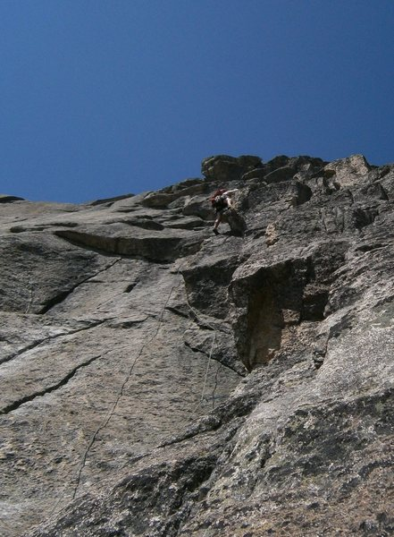 Pitch three of Schindlewäg, in the steep vertical section just below the anchor.