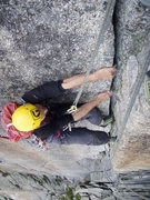 Rock Climbing Photo: Pitch six of Conquest (6a), the first of two pitch...
