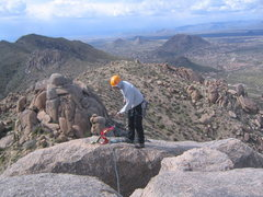 Rock Climbing Photo: Kelly setting to rap off of Tom's Thumb.