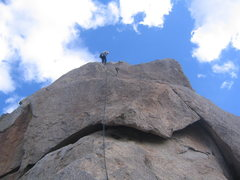 Rock Climbing Photo: Kelly rapping off of Tom's Thumb.