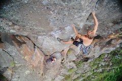 Rock Climbing Photo: Joel Unema at the crux transition of Phantsam 5.11...