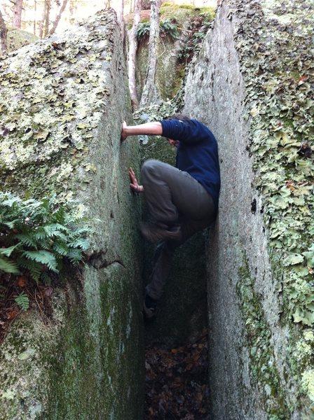 Rock Climbing Photo: Corey working his way up Oz Chimney.