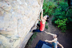 Rock Climbing Photo: Mary Patterson throwing for the jug. Photo courtes...