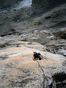 Rock Climbing Photo: The slabby second pitch of Clockwork Orange in the...
