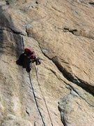 Rock Climbing Photo: Excellent handcrack on pitch four of Jedem Tierche...
