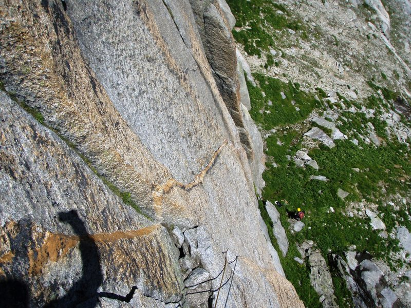 Rock Climbing Photo: The crazy quartz vein on pitch one of the Milchstr...