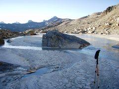 Rock Climbing Photo: Just below the glacier near the Wandfussplatten, i...