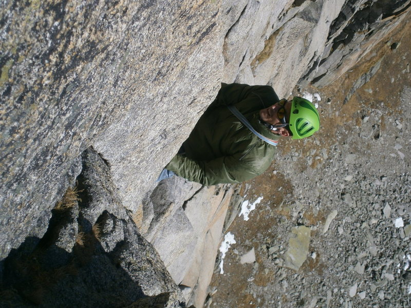 Near the end of the crux sixth pitch of Perrenoud (6a)