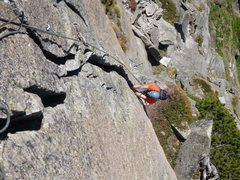 Rock Climbing Photo: Pitch four of Zeichen der Freundschaft (6b+). Goes...