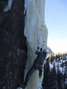 Rock Climbing Photo: Alan climbing at Loch Vale practice area.  Dec 26t...