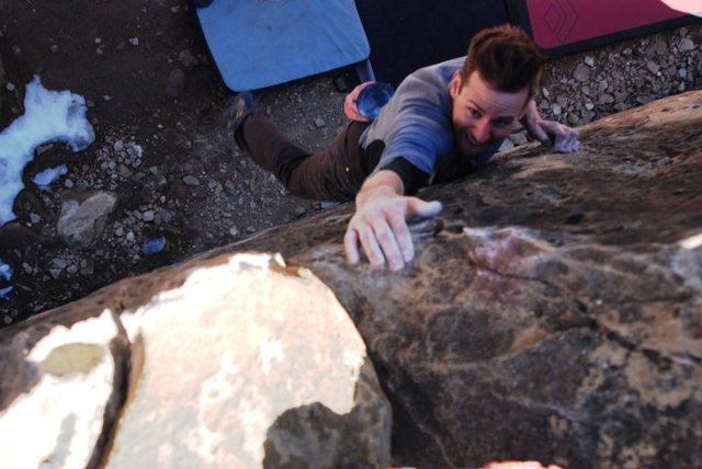 Rock Climbing Photo: Stabbing for the lip