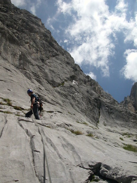 Rock Climbing Photo: Pitch six of Gagelfaenger, at the base of the midd...