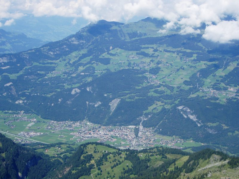 Looking down on Meiringen from the top of the Gross Simelistock