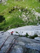 Rock Climbing Photo: The clean second pitch of the South Pillar (5b)