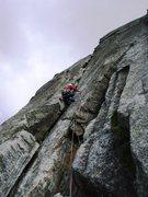 Rock Climbing Photo: The clean third pitch of the South Pillar (5b)