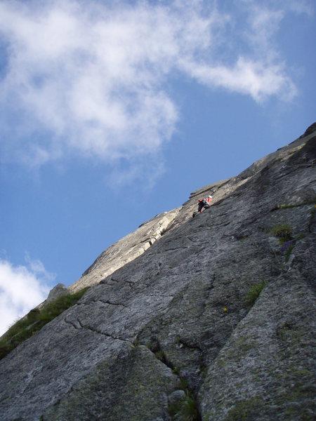Rock Climbing Photo: Pitch one of the South Pillar (5c+)