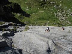 Rock Climbing Photo: Gatsch: traversing along the crack in the lower ha...