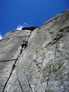 Rock Climbing Photo: Gatsch, pitch five (6a) - the signature pitch of t...