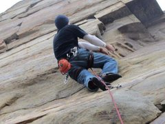 Rock Climbing Photo: chris on road warrior (steve said 12ish... )