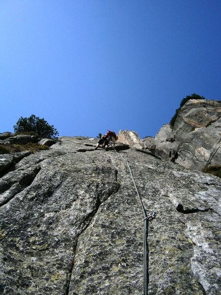 Rock Climbing Photo: Crux of pitch seven, Pissoir du Diable (6a+)