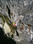 Rock Climbing Photo: The fun exit pitch of Pissoir du Diable (6a). The ...