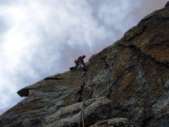 Rock Climbing Photo: The sensational flake on pitch six of the Southwes...