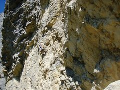 Rock Climbing Photo: Entering the long crux sequence at the end of pitc...