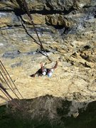 Rock Climbing Photo: The demanding crux sequence at the end of pitch th...