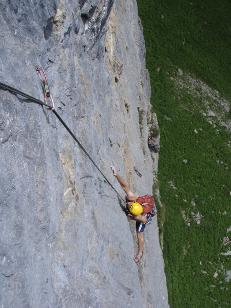 Rock Climbing Photo: Stellar point to point face climbing on pitch two ...