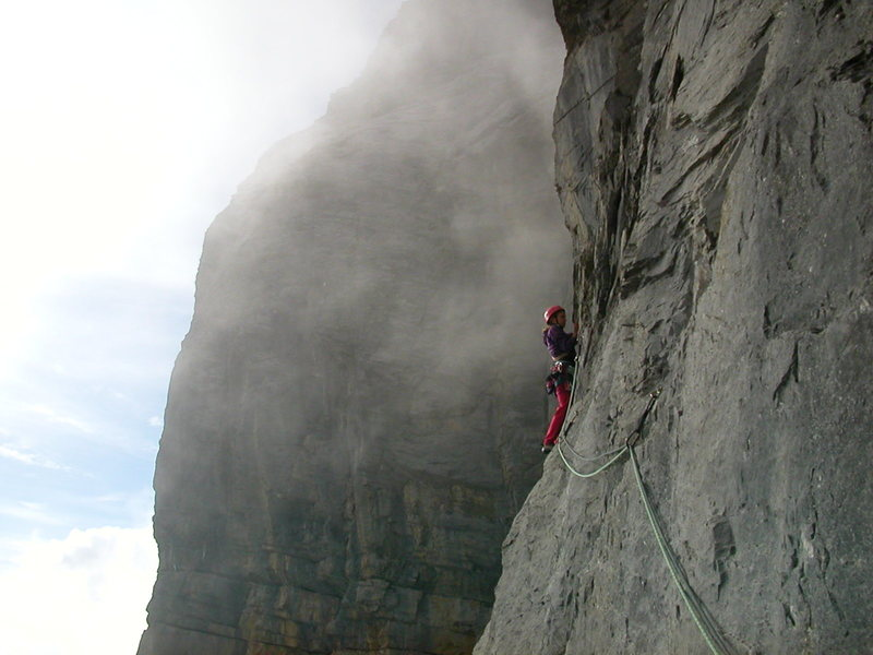 Climbing at Chli Glatten in the fog that is common for this area