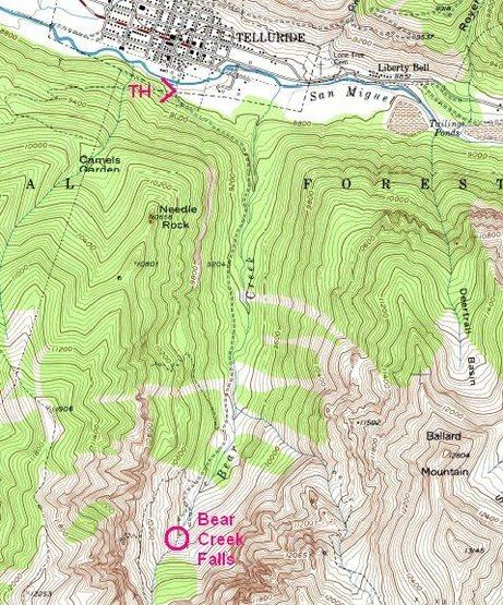 Rock Climbing Photo: Bear Creek area.  From USGS Telluride, Colo. 7.5' ...