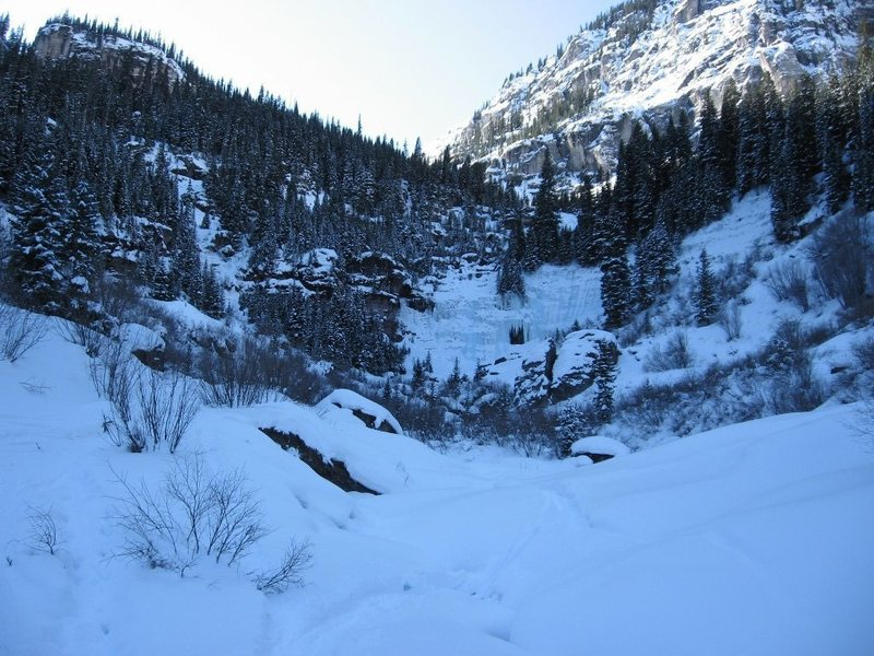 Bear Creek Falls (WI3-4), Telluride, CO.  (Runnel No. 1 to left, Runnel No. 2 to right).