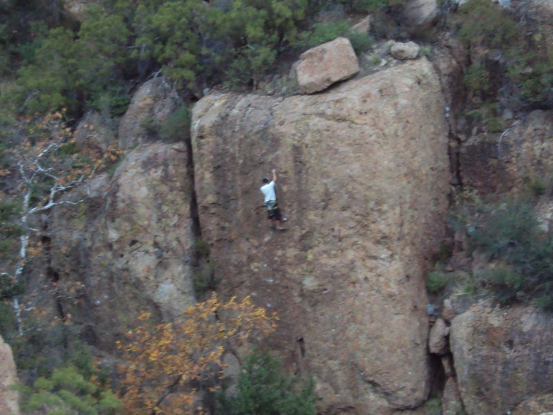 "Rock Climbing Photo: Leader pulling through the crux of ""Wonder Wo..."