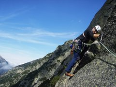 Rock Climbing Photo: The friction crux early in pitch eight of Sagitarr...