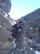 Rock Climbing Photo: Kurt Ross leading P4 with sparse ice. December 201...