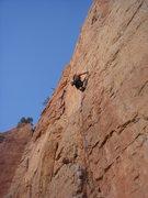 Rock Climbing Photo: Nan cruising the lower section.