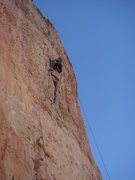 Rock Climbing Photo: Nan finishing the crux flake of Muscle Beach.
