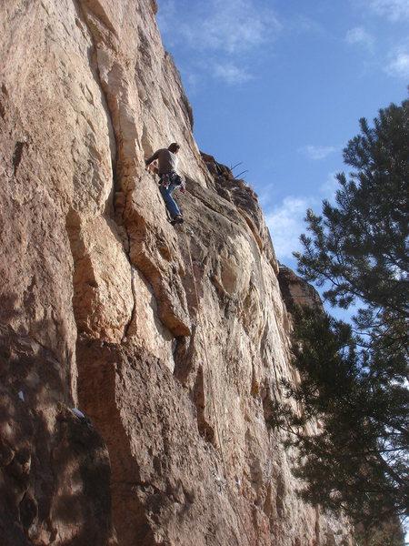 Rock Climbing Photo: Mike leading Three-Quarter Ton.