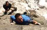 Rock Climbing Photo: Climber enjoying a casual warm-up on Barney Rubble...