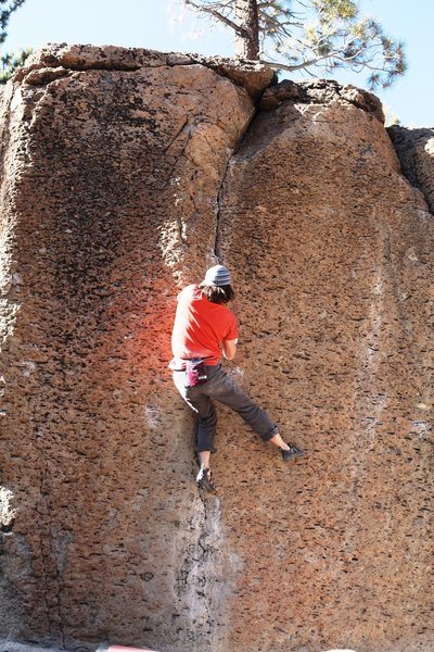 Typical climbing at the Bachar Boulders.