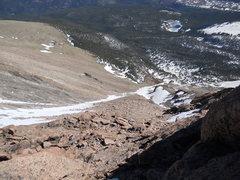 Rock Climbing Photo: Mt. Meeker. Dragon's Egg Couloir.  Even in a big y...