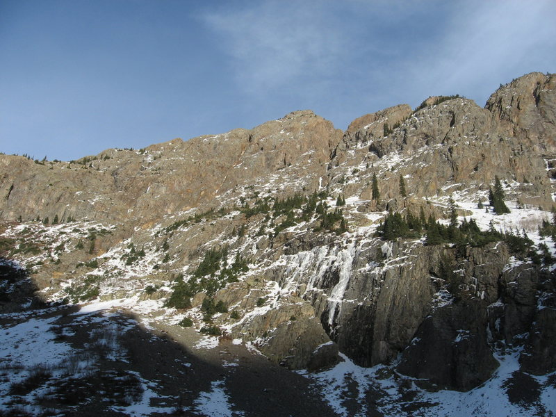 "Rock Climbing Photo: Lower pitches of climb visible above ""on-ramp..."