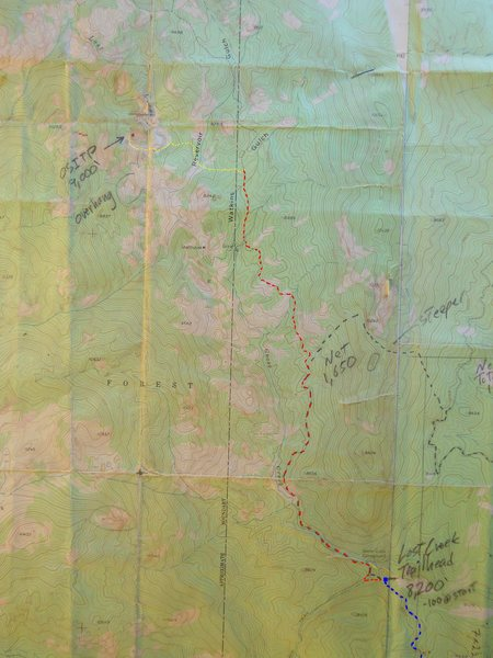 Strappo and Crusher's Crag approach map.<br> <br> McCurdy Mtn. topo, 1956.<br> 7.5 minute, contour interval 40',<br> 1 : 24,000.<br> <br> blue - road to trailhead<br> red - Lost Creek Trail<br> yellow - crosscountry<br> <br> Note:  Goose Creek Campground is incorrectly marked by the trailhead.
