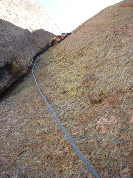 Pitch two traverse.<br> <br> Photo by Tom Carr.