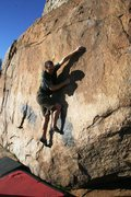 Rock Climbing Photo: About to make the crux move up to the jug on Bumbl...