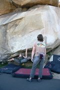 Rock Climbing Photo: Working up the starting moves of The Beach Problem...