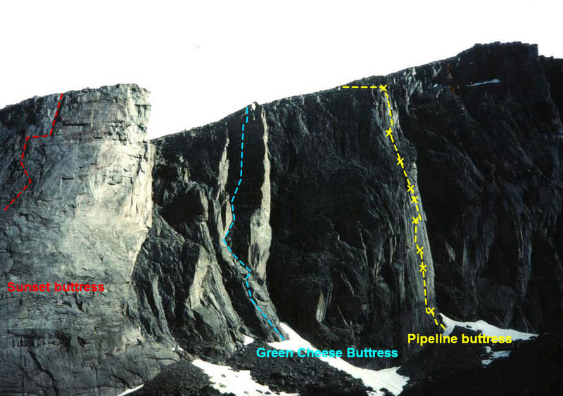 Tycho Wall (Cirque of the Moon) with Pipeline and Green Cheese buttress routes marked out.  (Buffalo Crude on Sunset Buttress visible at top left).